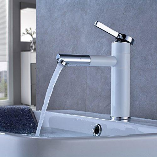 Elegant Weiß Waschtischarmatur 360° Schwenkbereich Einhandmischer Waschbecken Wasserhahn Wasserfall Badarmatur Einhebelmischer Mischbatterie für Badzimmer