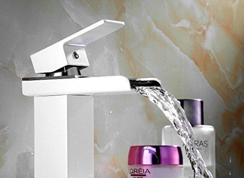 Auralum® Elegant Wasserhahn Armatur Einhebel- Mischbatterie Waschtischarmatur Wasserfall Einhandmischer Gegrillte weiße Farbe für Bad Badenzimmer Waschbecken