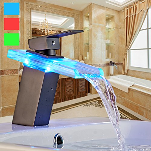auralum zeitgen ssig schwarz led rgb glas mischbatterie wasserfall wasserhahn armatur f r. Black Bedroom Furniture Sets. Home Design Ideas