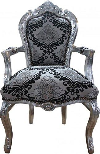 Casa Padrino Barock Esszimmer mit Armlehnen Silber-Schwarz Muster / Silber Mod2 - Antik Stil Möbel