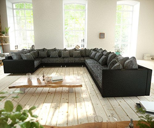 Couch Clovis XXL Schwarz mit Armlehne Ottomane Rechts Wohnlandschaft Modulsofa