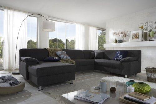 Dreams4Home Polsterecke Laguna Sofa Wohnlandschaft Couch U-Form Schlaffunktion grau strukturiert
