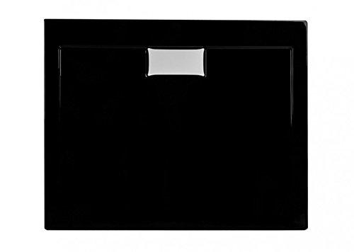 Duschwanne aus Acryl | schlagfest | Duschtasse in Schwarz inkl. Ablaufgarnitur