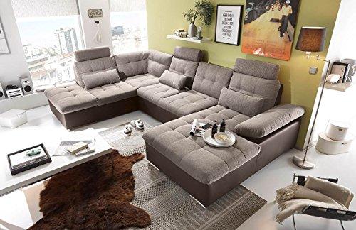 Ecksofa, Sofaecke, Wohnlandschaft, Couch, U-Form, Couchgarnitur, Polsterecke, Sofacouch, Polstergarnitur, braun, beige, Webstoff, Kunstleder