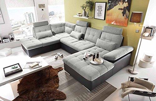 Ecksofa, Sofaecke, Wohnlandschaft, Couch, U-Form, Couchgarnitur, Polsterecke, Sofacouch, Polstergarnitur, hellgrau, schwarz, Webstoff, Kunstleder