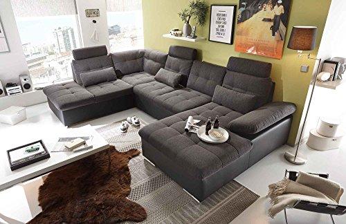 Ecksofa, Sofaecke, Wohnlandschaft, Couch, U-Form, Couchgarnitur, Polsterecke, Sofacouch, Polstergarnitur, lavafarben, schwarz, Webstoff, Kunstleder