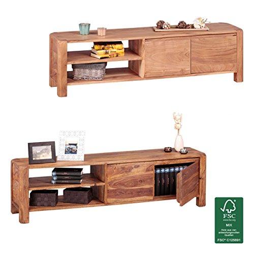 FineBuy Lowboard Massivholz Kommode 140 cm TV-Board Ablage-Fächer Landhaus-Stil Unterschrank 40 cm TV-Möbel
