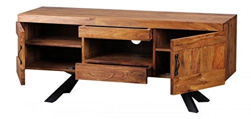 FineBuy Sheesham Massivholz Lowboard TV Hifi Regal 135 x 43 x 58 cm 2 Türen und 2 Schubläden