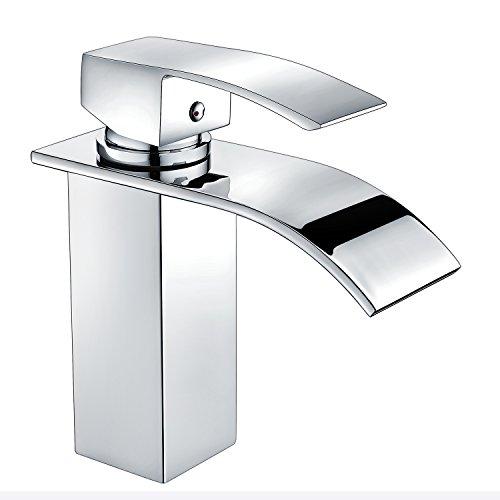 Waschtischarmatur Bad Waschbecken Armatur Wasserfall Wasserhahn Mischbatterie Einhebelmischer Waschbeckenarmatur Waschtischbatterie Waschtischmischer Badarmatur Chrom