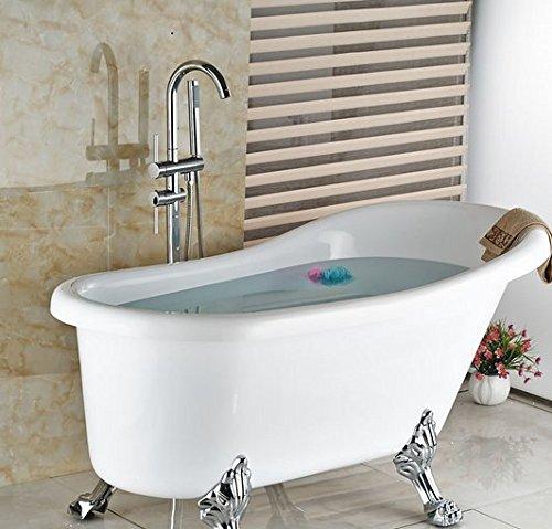 Gowe chrom Finish Boden montiert freistehend Badewanne Einhandmischer Wasserhahn w/Hand Held Dusche