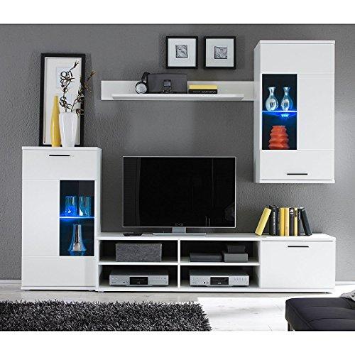 HBZ Wohnwand FRONTAL 1 in weiß Design inklusive Beleuchtung