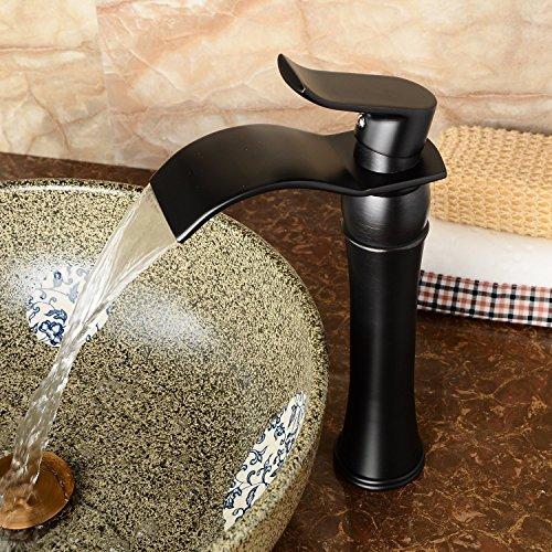 Hiendure®Einhebel- Mischbatterie Wasserhahn Armatur Waschtischarmatur Wasserfall Einhandmischer für Bad Waschbecken (hoch)