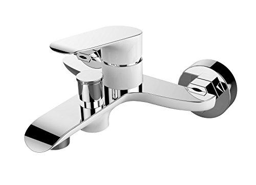 Hochwertige Designer Badarmatur-Hochdruckarmatur-Einhebelmischer-Wannenarmatur-Badarmatur-Wannenfüllarmatur -Farbe:Weiß/-chrom-Modell:ALEO INOX -Kuchinox-BLE610D