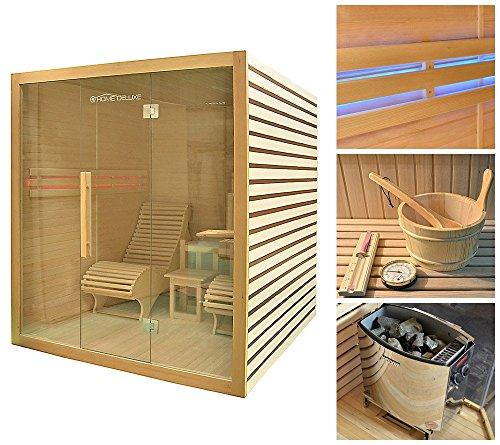 HOME DELUXE Set: Sauna Horizon, B/T/H: 199/210/215 cm, 50 mm, 8-KW-Ofen mit int. Steuerung 8-kW-Ofen mit interner Steuerung