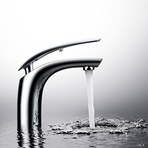 Homelody Wasserhahn Bad Einhebelmischer Mischbatterie Chrom Waschbecken Armatur Waschtischbatterie Waschtischarmatur Badarmatur