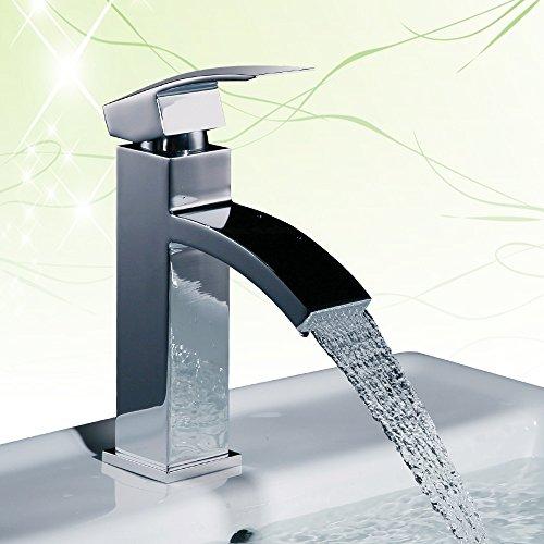 Homelody Chrom Armatur Wasserfall Wasserhahn Bad Einhebel Mischbatterie Badarmatur Waschtischarmatur Waschbeckenarmatur Einhebelmischer Waschtischbatterie für badzimmer