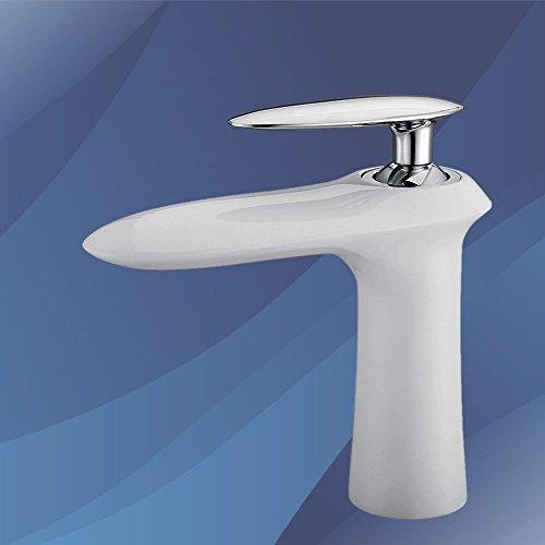 Homelody Weiss Wasserhahn Waschbecken Armatur Bad Mischbatterie Waschtischarmatur Waschbeckenarmatur Badarmatur Einhebelmischer und Waschtischmischer
