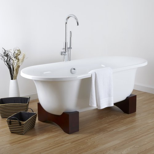 Hudson Reed Freistehende Badewanne Miami - Acrylbadewanne in Weiß - 660 x 790 x 1750 - 205 Liter Fassungsvermögen - Inklusive Holzfüße