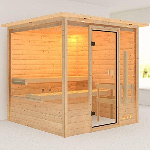karibu sauna ilya mit dachkranz fronteinstieg f r. Black Bedroom Furniture Sets. Home Design Ideas
