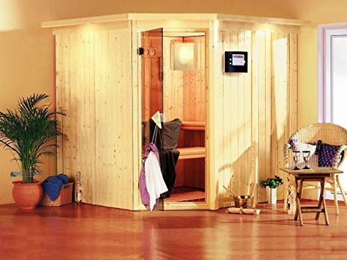 Karibu Sauna Jarin inkl. 9-kW-Ofen mit externer Steuerung, mit Dachkranz, mit energiesparender Saunatür