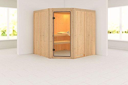 Karibu Sauna Jarin inkl. 9-kW-Ofen mit interner Steuerung, ohne Dachkranz, mit moderner Saunatür