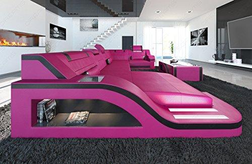 Leder Wohnlandschaft Palermo U-Form pink-schwarz