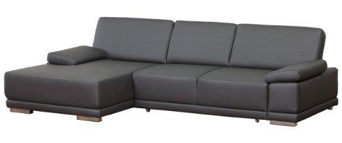 Lederecke Corianne/Longchair-3er Bett/282x80x162 cm/Leder Punch schwarz-poroflex softy schwarz