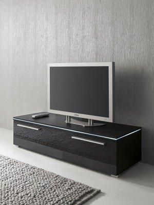 Lowboard TV-Schrank 120 cm schwarz Fronten hochglanz, optional LED-Beleuchtung