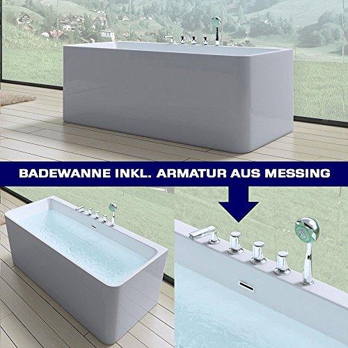 Luxus Badewanne Vicenza601 freistehend in weiß, mit Armatur, BTH: 180x80x57 cm
