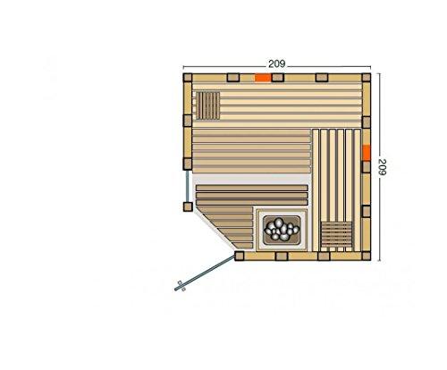 Massivholzsauna Infraworld Urban Sauna 209 x 209 mit Eckeinstieg mit Bio Saunaofen und Steuerung
