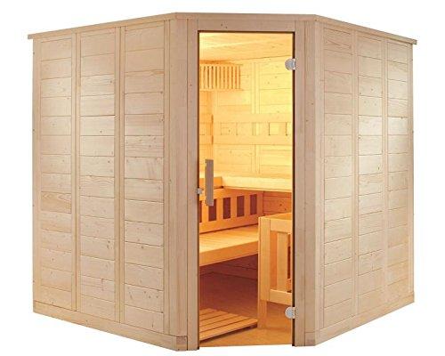 Massivholzsauna mit Eckeinstieg 206 x 206 x 204 mit Saunaofen Combi-Sauna Bio
