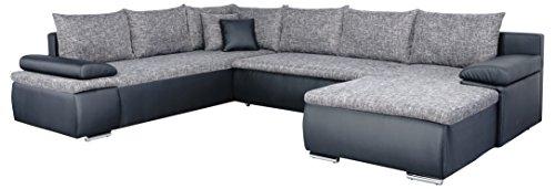Mein Sofa CUSoft11 XXL Wohnlandschaft Cali mit Schlaffunktion und Bettkasten, circa 180 x 322 x 250 cm, Sitzhöhe 42 cm, Mix aus Kunstleder und Webstoff, Recamiere links oder rechts verwendbar