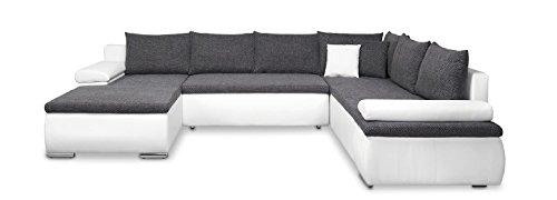 Mein Sofa XXL Wohnlandschaft Cali weiß mit Schlaffunktion und Bettkasten, circa 180 x 322 x 250 cm, Sitzhöhe 42 cm, Mix aus Kunstleder und Webstoff, Recamiere links oder rechts verwendbar …