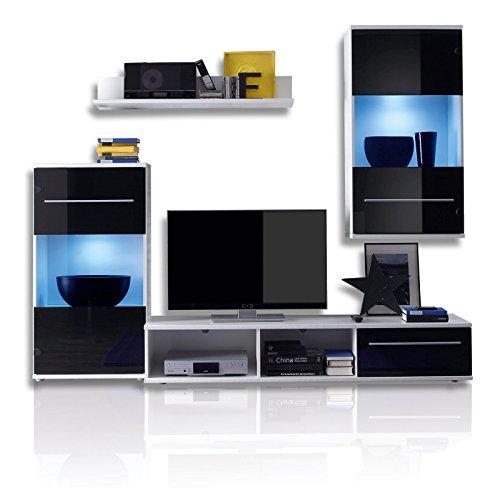 ROLLER Wohnwand BLACK MAGIC - schwarz-weiß - LED-Beleuchtung - 230 cm breit
