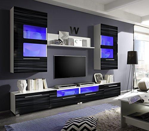 roller wohnwand corner wei schwarz hochglanz mit beleuchtung 260 cm 0. Black Bedroom Furniture Sets. Home Design Ideas