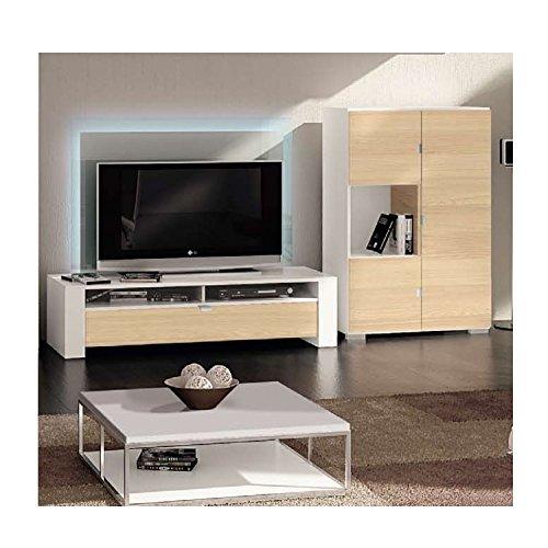 """Röhr-Bush """"Variate"""" Wohnzimmer Wohnwand + Beleuchtung Fernsehschrank TV Schrank Anbauwand Lowboard Schrankwand esche weiß"""