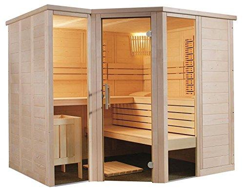 Sauna Eckeinstieg 234 x 206 x 204 Infrarot Saunaofen Combi-Sauna Bio