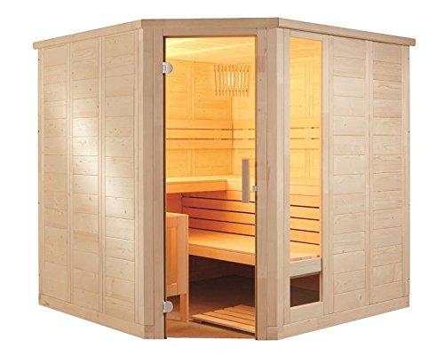 Sauna Eckeinstieg 234 x 206 x 204 mit Glas Saunaofen finnischer Betrieb