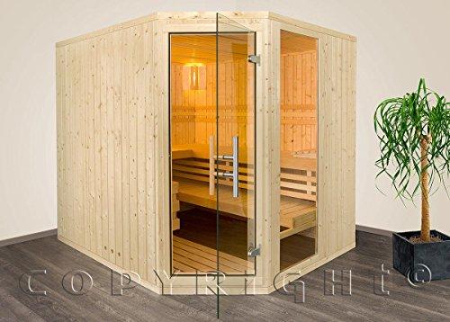 Sauna Massivholz 228 x 195 x 204 cm mit Eckeinstieg Aktion mit Saunaofen Steuergerät
