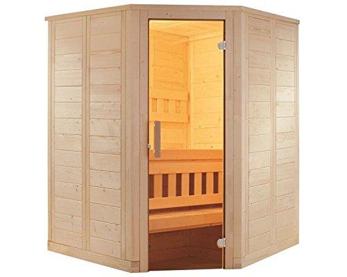 Sauna mit Eckeinstieg 145 x 145 x 204 mit Saunaofen finnischer Betrieb