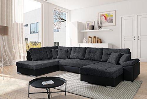 Sofa Couchgarnitur Couch Sofagarnitur SANTORINI 3 U Polstergarnitur Polsterecke Wohnlandschaft mit Schlaffunktion und Bettkasten