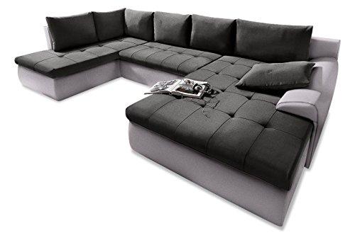 Sofa Wohnlandschaft Cecile XXL - mit Schlaffunktion - Schwarz - Luxus-Microfaser Anthrazit / Schwarz