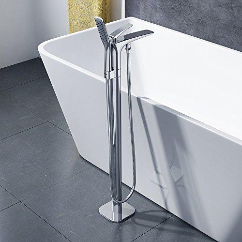 Standarmatur Fontanum05, freistehende Design Badewannenarmatur aus verchromten Messing