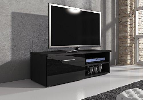 TV Möbel Lowboard TV-Element TV Schrank TV-Ständer Entertainment Lowboard Vegas Korpus Schwarz Matt/Fronten schwarz hochglanz 120 cm