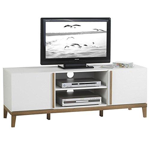 TV Rack Lowboard Hifi Möbel Fernsehtisch Beistelltisch Wohnzimmertisch RIGA, 2 Fächer, 2 Türen, weiß