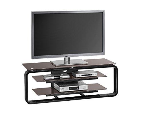 TV-Rack Lowboard in Hochglanz schwarz, Oberboden und 2 Einlegeböden aus Glas in lava, Maße: B/H/T ca. 110/39/42 cm