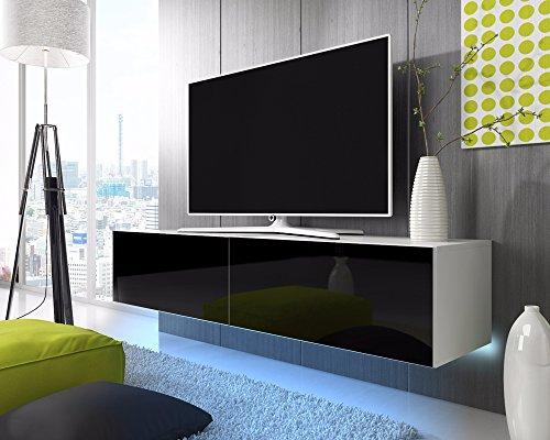 TV Schrank Lowboard Hängeboard SIMPLE mit LED Blau (Weiß Matt / Schwarz Hochglanz 200 cm)