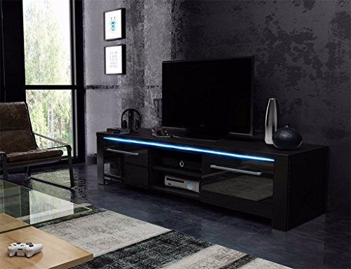 tv schrank lowboard sideboard conoy mit led schwarz matt. Black Bedroom Furniture Sets. Home Design Ideas
