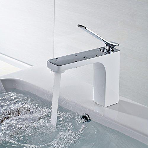 Timaco Wasserhahn bad Armatur Waschtischarmatur Waschbeckenarmatur Einhebelmischer Mischbatterie Waschtisch Waschbecken Badarmatur Weiß Chrom