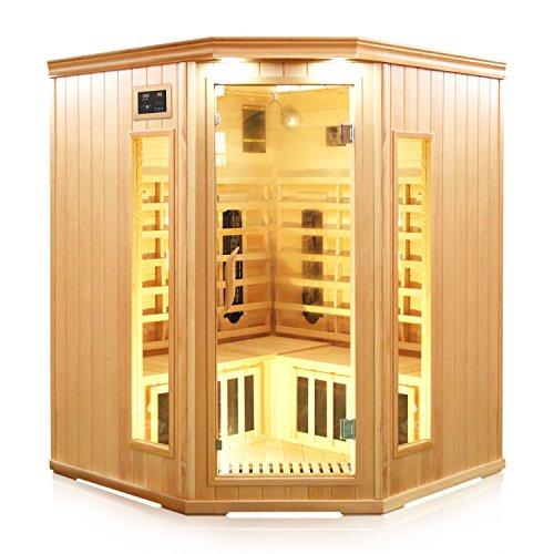 TroniTechnik Infrarotsauna 4 Personen Infrarotkabine Sauna Keramikstrahler Karbon Bodenstrahler 150cm x 150cm x 190cm